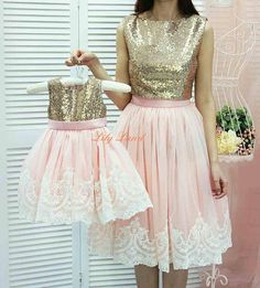 Mother daughter matching tutu lace dress, Gold sequin dresses, blush girls party dress, Mommy and Me birthday dress Mommy And Me Outfits, Cute Outfits For Kids, Blush Dresses, Girls Dresses, Minnie Mouse Dress Up, Princesa Alice, African Dresses For Kids, Mother Daughter Fashion, Mother Daughter Dresses Matching
