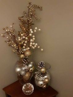 How to make easy DIY Christmas Decorations using fallen branches and ornaments. Perfect Christmas or winter wonderland decoration for living room, bedroom, or wedding centerpiece. Great Budget decor ideas for the home and small spaces. Dollar Tree Christmas, Noel Christmas, Simple Christmas, Christmas Wreaths, Christmas Crafts, Christmas Wedding, Christmas Center Piece Ideas, Elegant Christmas, Christmas Villages