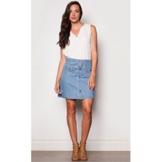 Back to the skirt in light blue with front pockets. Wear it with a long sleeved turtleneck on a cooler spring day or floral tank top in the summer. Hang to dry. Short Denim Skirt by Pink Martini Collection. High Waisted Jean Skirts, Pink Martini, Floral Tank Top, Skirts With Pockets, Denim Skirt, Jeans, Light Blue, Turtle Neck, Tank Tops