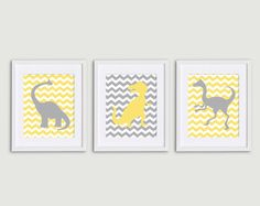 Neutral grey & yellow dinosaur prints perfect for a boy or girl via Etsy. #pinparty #dinosaur #nursery