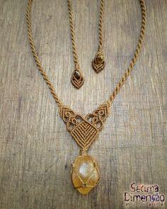 Colar Macramê Citrino #macrame #macramê #colar #necklace #citrino #citrine
