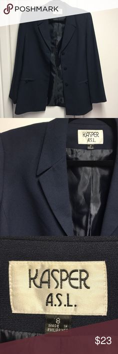 Kasper ASL Navy Blue Blazer # size 8 # Perfect condition, barely used Kasper navy blue blazer with three buttons. What a professional looking suit jacket! Goes great with everything! 😍  Length is 29 inches.  Shell 50% acetate, 50% polyester. Lining is 100% polyester  #Comes from a pet 🐈🐩🐓 free and smoke free home 🏡 # Kasper Jackets & Coats Blazers