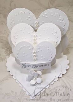 wedding cards, easel cards, tripl easel, tripl tier, tripl heart, heart easel, paper crafts, easel heart, triple heart card
