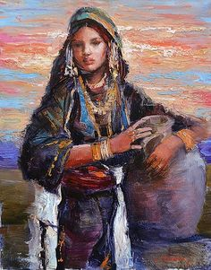 CHELARU TIBERIU (n. 1967 ) Tânãrã cu ulcior / Yound woman with jar Jar, Woman, Painting, Feral Cats, Painting Art, Women, Paintings, Painted Canvas, Jars