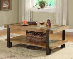 table basse industrielle et rustique à la fois avec panier de rangement