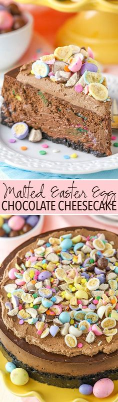 Chocolate Cheesecake with a light crunch and festive color from malted Easter eggs!