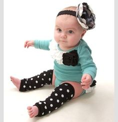 Baby Blue,White&Black And Polkadots Outfit
