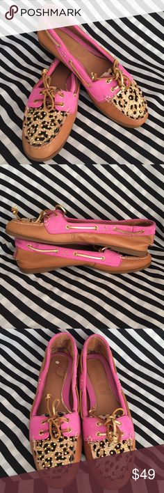 Sperry Top-Sider Audrey Studded Pink Leopard Sz8.5 Sperry Top-Sider Audrey Studded,Cognac Pink Leopard Pony Studded Size 8.5  These shoes are pre owned , but still in good condition they do have normal wear but no damage .  SEE PICTURES FOR MORE DETAILS Sperry Top-Sider Shoes Flats & Loafers