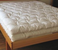eco matress topper 3 layers of our thickest wool batting encased in soft organic cotton twill - add's a little extra luxury to your dream time Affordable Mattress, Cheap Mattress, Best Mattress, Mattress Pad, Matress Topper, Bean Bag Bed, Bedroom Furniture, Bedroom Decor, Dream Bedroom