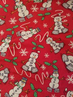 L Peaches Red Ice Skating Snowman Christmas Medical Dental Nurse Scrub Top #Peaches