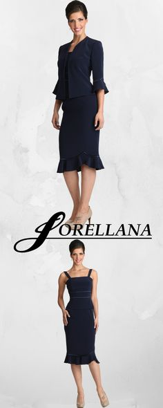Lorellana Couture Inc. This subtle and elegant trio is another staple in the classic Lorellana collection, It's a classic look suitable for any formal occasion Style Mother Of The Bride Gown, Bride Gowns, Classic Looks, Evening Gowns, Peplum Dress, Special Occasion, Glamour, Couture