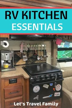 Our ultimate list of RV and camper kitchen accessories that we love. As a full-time RV living family of these are items we recommend to all RVers. checklist hacks products tips box camping camping campers caravans trailers travel trailers Travel Trailer Living, Travel Trailer Camping, Van Camping, Camping With Kids, Camping Ideas, Family Camping, Camping Stuff, Rv Travel, Travel Trailers