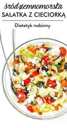 śródziemnomorska sałatka z cieciorką Pasta Salad, Lunch, Ethnic Recipes, Fitness, Diet, Food, Crab Pasta Salad, Eat Lunch, Lunches