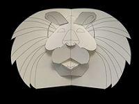 Pop up Lion.  Free templates and tutorials for pop up animals on Robert Sabuda's website.