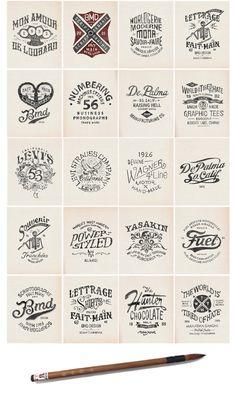 Série de logo lettrages sur fond blanc réalisés à la main par le graphiste typographe de Bmd Design.