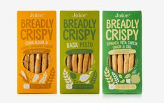 Joice – Breadly Crispy – BOB STUDIO Chip Packaging, Cookie Packaging, Food Branding, Food Packaging Design, Granola, Spinach And Feta, Cookies Et Biscuits, Food Design, Organic Recipes
