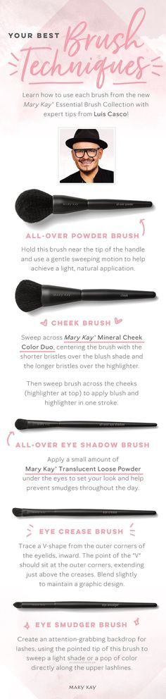 Beautiful It's time for a beauty brush-up! These expert tips from celebrity makeup artist Luis Casco make foundation, eye and cheek application easy and seamless. | Mary Kay  The post  It's time for a beauty brush-up! These expert tips from celebrity makeup artis…  appeared  ..