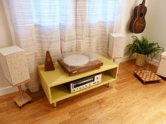 a speaker customization project, born from a desire to slow down, ditch the iTunes/iPhone playlist, and enjoy the warm analog sounds of vinyl records. Record Player Speakers, Diy Speakers, Record Players, Stereo Speakers, Music Corner, Record Cabinet, Apartment Therapy, Your Space, Furniture Decor