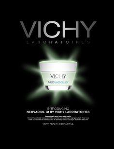 Anúncio Vichy Neovadiol Gf - Adobe Photoshop | Fundo preto para expressar elegância e sofisticação. Limpeza e objetividade na comunicação para acentuar o conceito de luxo.