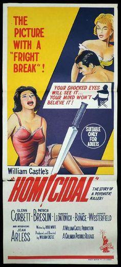 HOMICIDAL Original Australian Daybill. William Castle Horror. (please follow minkshmink on pinterest) #homicidal