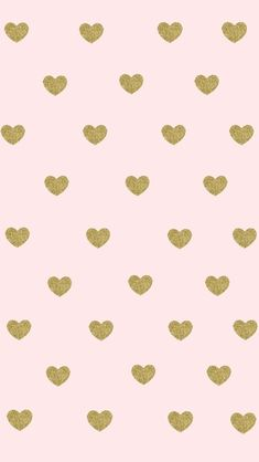 HEART OF Gold. Soft pink background with gold hearts wallpaper