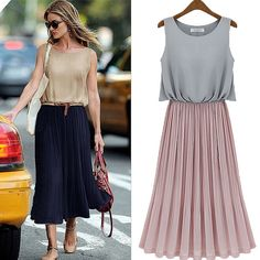 For work & play + a dreamy price: Western Fresh Style Contrast Color Pleated Sleeveless Long Chiffon Dress