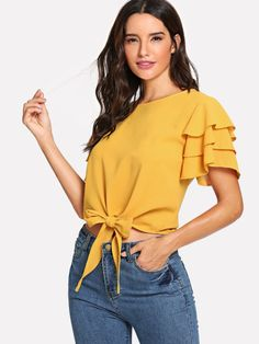 Layered Ruffle Sleeve Knot Hem Top -SheIn(Sheinside) for woman for woman sare blouse outfit Latest Tops Fashion, New Dress Pattern, Fashion News, Fashion Outfits, Stylish Outfits, Men Fashion, Asymmetrical Tops, Front Tie Top, Summer Shirts
