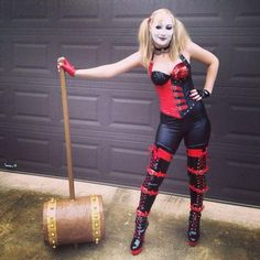 A Harley Quinn Costume With A Giant Hammer