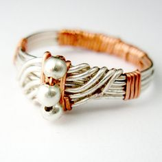 Silver and Copper Ring Wave Ring Wire Wrapped by RazielaDesigns, $48,00