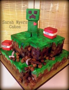 Minecraft cake for Nater on his birthday Minecraft Party, Minecraft Cake Creeper, Pastel Minecraft, Bolo Minecraft, Creeper Cake, Minecraft Birthday Cake, Cake Birthday, 8th Birthday, Cakes For Boys