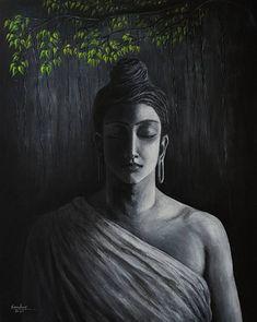Original Religious Painting by Sandeep Vr Black Canvas Paintings, Indian Art Paintings, Canvas Art, Buda Painting, Buddha Artwork, Black Buddha, Air Brush Painting, My Art Studio, Painting Wallpaper
