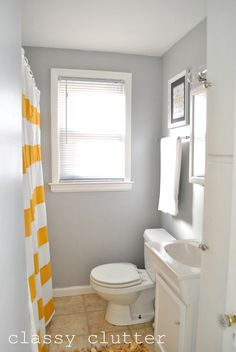 Grey and Yellow Bathroom Pictures Unique Clean and Simple Yellow Bathroom Redo Classy Clutter Pale Yellow Bathrooms, Grey Bathrooms, Bathroom Renos, Small Bathroom, Bathroom Renovations, Bad Inspiration, Bathroom Inspiration, Bathroom Pictures, Bathroom Ideas