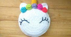 Crochet Unicorn Pillow - Cushion Step by Step Crochet Cushion Pattern, Crochet Pillow Patterns Free, Crochet Cushions, Crochet Unicorn Blanket, Crochet Unicorn Pattern, Unicorn Cushion, Unicorn Pillow, Unicorn Headband, Crochet Projects
