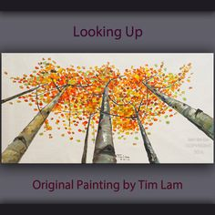 Original abstract painting Tree art Looking Up forest by elseart, $369.00