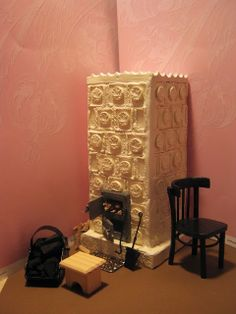 Amazing tile stove how-to. Mid-century Polish apartment. mini-cottages: Wood stove room, step-by-step scale 1:10