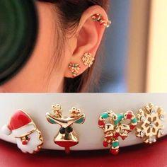 Ear Cuff Christmas Set - Santa Claus,Reindeer,Christmas Decor,Snowflake Ear Cuff - Christmas Gift - No piercing earring cuffs