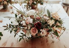 Creams, dusty blushes, champaign and burgundy blooms. This gorgeous boho centerp. Creams, dusty blushes, champaign and burgundy blooms. This gorgeous boho centerpiece is so full of texture and has an am. Whimsical Wedding Flowers, Fall Wedding Flowers, Wedding Flower Arrangements, Floral Wedding, Wedding Colors, Wedding Bouquets, Burgundy Wedding, Bridal Flowers, Floral Arrangements