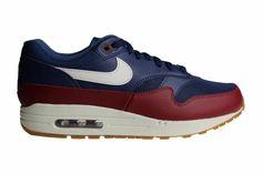 reputable site 6688f cda74 Nike Air Max 1 (Donkerblauw/Bordeaux Rood/Gebroken Wit/Wit) AH8145 400 Heren  Sneakers