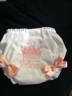 Princesss Monogrammed Bloomer/diaper cover by Fancydancyboutique, $10.50
