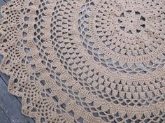 """Custom Made Large Round Crochet Cotton Doily Rug In 60"""" Circle Lacy Pattern Non Skid"""
