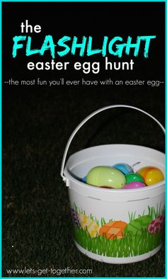 The Flashlight Easter Egg Hunt from Let's Get Together- some easter fun for the big kids, teenagers, or adults. The post includes a list of everything you need, instructions and tips for setting it up, and rules of the game. We look forward to this every year! #tradition #egghunt #easterfun