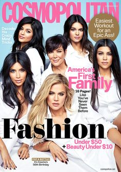"cosmokardashiancover-""America's First Family"" with the Kardashians posing on the cover? The magazine pictures Kris Jenner, Kim Kardashian, Khloe Kardashian, Kourtney Kardashian, Kendall Jenner and Kylie Jenner all dressed in white. Kourtney Kardashian, Familia Kardashian, Estilo Kardashian, Kardashian Family, Kardashian Style, Kardashian Jenner, Kardashian Girls, Kardashian Fashion, Kardashian Photos"