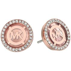 Michael Kors Logo Earrings ($95) ❤ liked on Polyvore featuring jewelry, earrings, logo earrings, michael kors jewelry, clear crystal earrings, clear crystal jewelry and clear jewelry