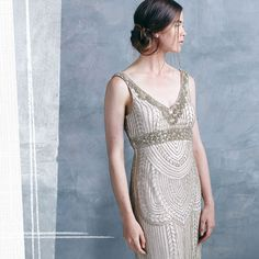 Sue Wong champagne beaded dress.