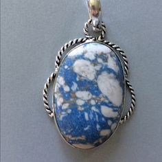 """Vintage Look Mosaic Jasper Pendant Beautiful Vintage Look to this Mosaic Jasper Pendant. Pretty blue white and gray color would be great for the jeans gal in your life nice """"roped"""" look to the silver Jewelry Necklaces"""
