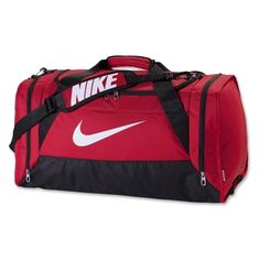 cbf9d8df2070 Nike Brasilia 6 Large Duffle Bag (Red) (64 CAD) ❤ liked on Polyvore  featuring bags and luggage