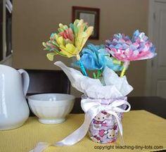 Colorful Coffee Filter Flowers to Celebrate Spring or Mother's Day #mothersday http://www.teaching-tiny-tots.com/toddler-activities-coffee-filter-flowers.html