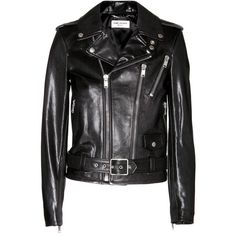 Saint Laurent Leather Biker Jacket found on Polyvore featuring outerwear, jackets, tops, black, chaquetas, leather moto jacket, motorcycle jacket, moto jacket, real leather jacket and black jacket