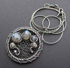 blue labradorite silver necklace wire wrapped by AnnieJewelry