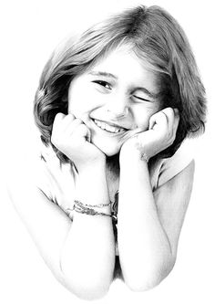 Hand-drawn pencil portrait drawings of girls from photographs. Upload photo online to order pencil portrait from a photograph.